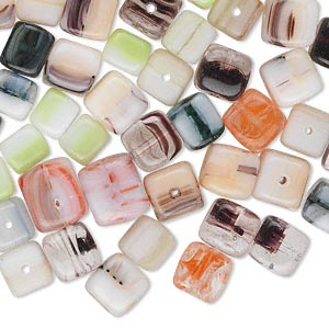 Bead Mix, Czech Glass, Opaque Mixed Colors, 6x6mm-9x8mm Cube. Sold Per 50-gram Pkg, Approximately 80 Beads