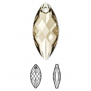 Focal, Swarovski® Crystals, Crystal Passions®, Crystal Golden Shadow, 30x14mm Faceted Navette Pendant (6110). Sold Individually 6110