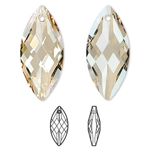 Focal, Swarovski® Crystals, Crystal Passions®, Crystal Golden Shadow, 40x18mm Faceted Navette Pendant (6110). Sold Individually 6110