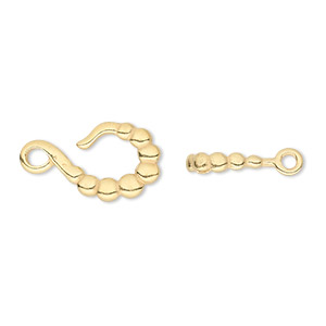 Clasp, JBB Findings, Hook-and-eye, Gold-plated Pewter (tin-based Alloy), 21x11mm Double-sided Beaded. Sold Individually 5367/5368PEGP