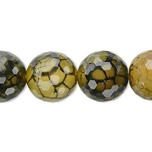 Bead, Fire Crackle Agate (dyed / Heated), Green, 16mm Faceted Round, B Grade, Mohs Hardness 6-1/2 7. Sold Per 8-inch Strand, Approximately 10 Beads 2876GE