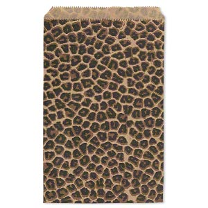 Bag Paper Light Brown Dark Black 9x6 Inch Rectangle With Leopard Print And Scalloped Top Edge Sold Per Pkg Of 100