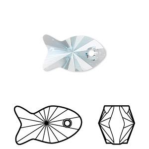 1xSwarovski ® 18mm Aquamarine Fish Pendant 6727