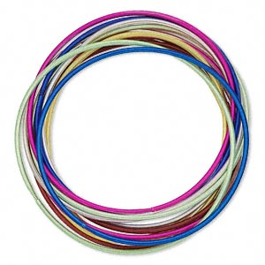 Bracelet, Stretch, Steel, Assorted Colors, 2mm Wide, 7 Inches. Sold Per Pkg 12 2899JE