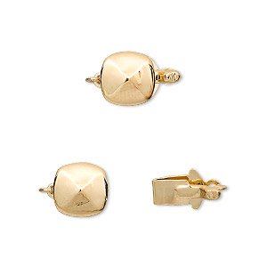 """Clasp, Tab, """"vermeil"""" Gold-plated Brass, 9mm Four-facet Flat Round. Sold Individually"""