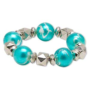 Bracelet, Stretch, Acrylic Silver-coated Plastic, Teal Blue, Nugget Round, 8 Inches. Sold Individually 2919JD