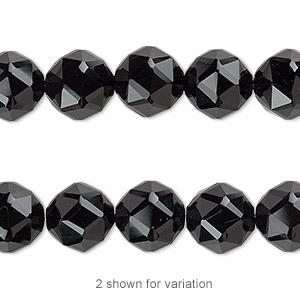 Bead, Black Onyx (dyed), 10mm Rose-cut Round 0.5-1.5mm Hole, B Grade, Mohs Hardness 6-1/2 7. Sold Per 8-inch Strand, Approximately 20 Beads 2924GE