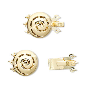 """Clasp, 3-strand Tab, """"vermeil"""" Gold-plated Brass, 13mm Flat Round Swirl. Sold Individually"""