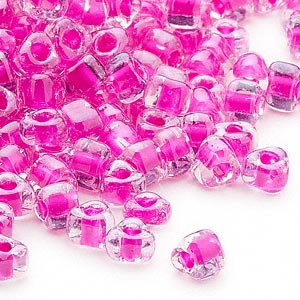 Seed Bead, Miyuki, Glass, Transparent Clear Color-lined Fuchsia, (TR1110), #5 Triangle. Sold Per 250-gram Pkg TR1110