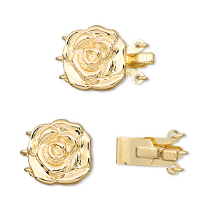 """Clasp, 3-strand Tab, """"vermeil"""" Gold-plated Brass, 13mm Flat Round Rose. Sold Individually"""