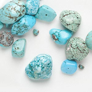 Bead Mix, Magnesite (dyed / Stabilized), Blue / Green / Blue-green, Small Extra-large Nugget, Mohs Hardness 3-1/2 4. Sold Per 1/4 Pound Pkg, Approximately 10 Beads