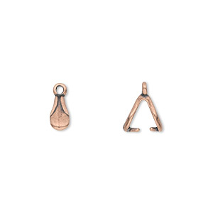Bail, JBB Findings, Ice-pick, Antique Copper-plated Pewter (tin-based Alloy), 8x4mm Double-sided Teardrop Fancy Design 6mm Grip Length. Sold Per Pkg 4 6205PEACO