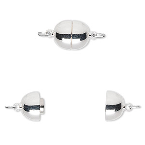 Clasp, Magnetic, Silver-plated Brass, 11x9mm Oval. Sold Individually