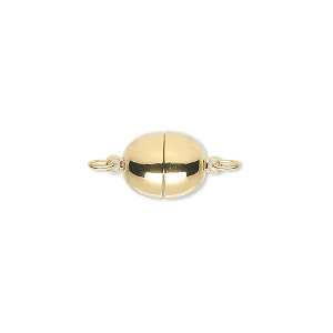 Clasp, Magnetic, Gold-plated Brass, 11x9mm Oval. Sold Individually