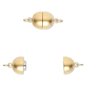 Clasp, Magnetic, Gold-plated Brass, 10x9mm Satin Oval. Sold Individually