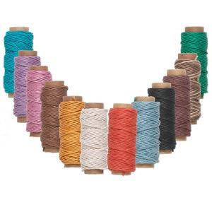 Cord, Hemptique®, hemp, assorted colors, 1mm, 20-pound test. Sold per pkg of twelve 29-foot spools.