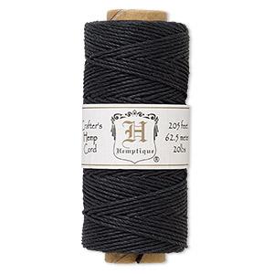 Cord, Hemptique®, polished hemp, black, 1mm diameter, 20-pound test. Sold per pkg of 205 feet.