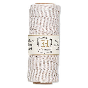 Cord, Hemptique®, polished hemp, white, 1mm diameter, 20-pound test. Sold per 205-foot spool.