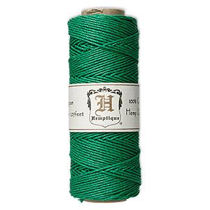 Cord, Hemptique®, polished hemp, green, 1mm diameter, 20-pound test. Sold per 205-foot spool.