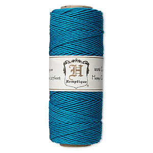 Cord, Hemptique®, polished hemp, turquoise blue, 1mm diameter, 20-pound test. Sold per 205-foot spool.
