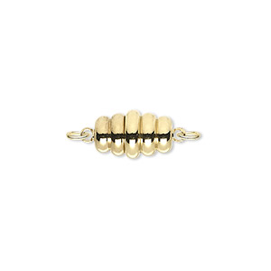 Clasp, Magnetic, Gold-plated Brass, 13x8mm Swirl Oval. Sold Individually