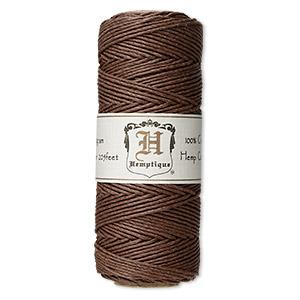 Cord, Hemptique®, polished hemp, dark brown, 1mm diameter, 20-pound test. Sold per 205-foot spool.