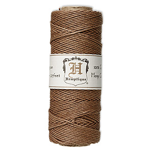 Cord, Hemptique®, polished hemp, light brown, 1mm diameter, 20-pound test. Sold per 205-foot spool.