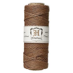 Cord, Hemptique®, polished hemp, light brown, 1mm diameter, 20-pound test. Sold per 205-foot spool.