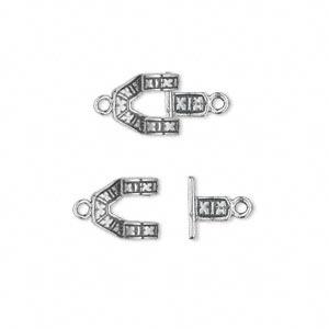 "Clasp, JBB Findings, Hook, Antiqued Sterling Silver, 18x9mm ""X"" Design. Sold Individually 5460 & 5461"