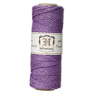 Cord, Hemptique®, polished hemp, purple, 1mm diameter, 20-pound test. Sold per 205-foot spool.