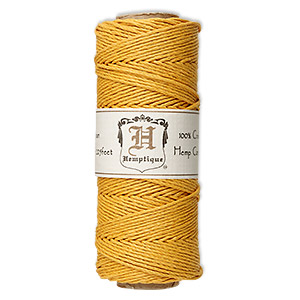 Cord, Hemptique®, polished hemp, gold, 1mm diameter, 20-pound test. Sold per 205-foot spool.