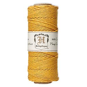 Cord, Hemptique®, polished hemp, gold, 1mm diameter, 20-pound test. Sold per 205-foot spool.