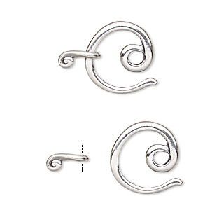 Clasp, JBB Findings, Hook-and-eye, Sterling Silver, 16x15mm Circle. Sold Individually 5358/5357AN