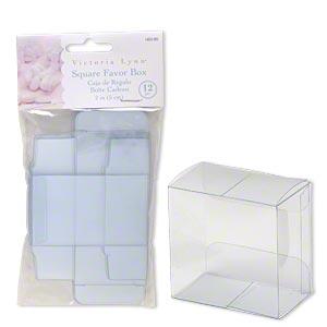 favor box, victoria lynn™, plastic, clear, 2 x 2 x 1-1/4 inch square