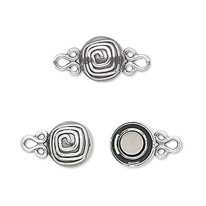 Clasp, JBB Findings, Magnetic, Sterling Silver, 9mm Round Spiral Design. Sold Individually 5455LMSH 1-STRD-2G
