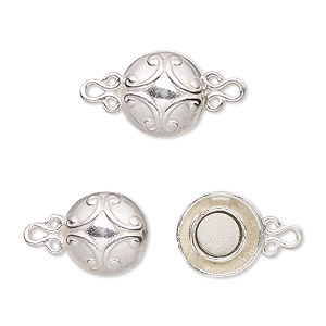 Clasp, JBB Findings, Magnetic, Sterling Silver, 12mm Fancy Round. Sold Individually 5453LMSH 1-STRD 3.5G