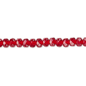 Bead, Czech Fire-polished Glass, Ruby Red, 5x4mm Faceted Rondelle. Sold Per 16-inch Strand 152-35001-00-5mm-90090
