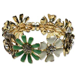 Bracelet, Bangle, Enamel / Glass Rhinestone / Acrylic Pearl / Gold-finished Steel Pewter (tin-based Alloy), Multicolored, 31mm Flower, 7 Inches Magnetic Clasp. Sold Individually 3026JD