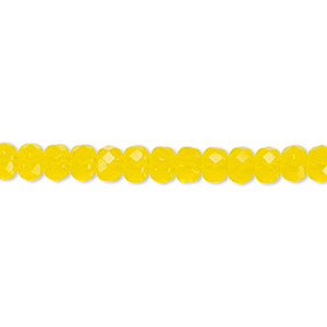 Bead, Czech Fire-polished Glass, Yellow, 5x4mm Faceted Rondelle. Sold Per 16-inch Strand 152-35001-00-5mm-80020