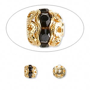 Bead, Glass Rhinestone Gold-finished Brass, Black, 6mm Banded Round. Sold Per Pkg 10