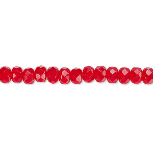 Bead, Czech Fire-polished Glass, Light Red, 5x4mm Faceted Rondelle. Sold Per 16-inch Strand 152-35001-00-5mm-90080