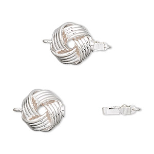 Clasp, Tab, Silver-plated Brass, 11.5mm Flat Round Knot. Sold Per Pkg 2