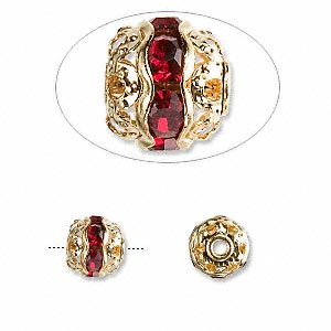 Bead, Glass Rhinestone Gold-finished Brass, Garnet Red, 8mm Banded Round. Sold Per Pkg 10