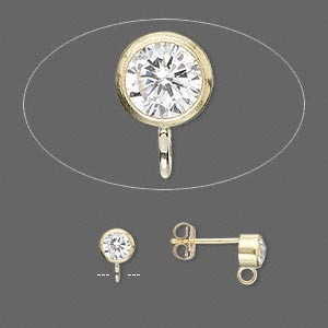 Earstud, Cubic Zirconia 14Kt Gold-filled, Clear, 4mm Round Open Loop. Sold Per Pair