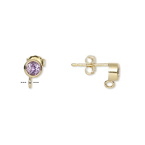 Earstud, Amethyst (natural) 14Kt Gold-filled, 4mm Round Open Loop. Sold Per Pair
