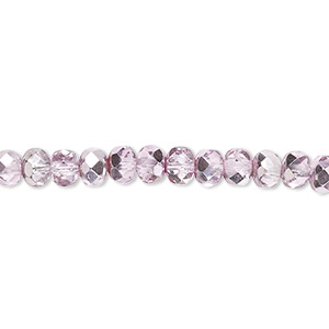 Bead, Czech Fire-polished Glass, Pink Silver, 5x4mm Faceted Rondelle. Sold Per 16-inch Strand 152-35001-17-5mm-00030-97327