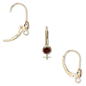 Earwire, Garnet (natural) 14Kt Gold-filled, 17mm Leverback 4mm Faceted Round Open Loop. Sold Per Pair