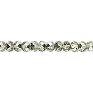 Bead, Czech Fire-polished Glass, Metallic Mint, 5x4mm Faceted Rondelle. Sold Per 16-inch Strand 152-35001-17-5mm-00030-97353