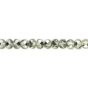 Bead, Czech Fire-polished Glass, Metallic Mint, 5x4mm Faceted Rondelle. Sold Per Pkg 1,200 (1 Mass)