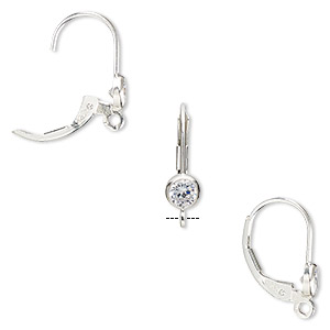 Earwire, Cubic Zirconia Sterling Silver, Clear, 17mm Leverback 4mm Faceted Round Open Loop. Sold Per Pair